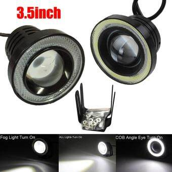 Harga 3.5Inch Car Fog Light COB LED Projector White Halo Ring DRL DrivingBulbs