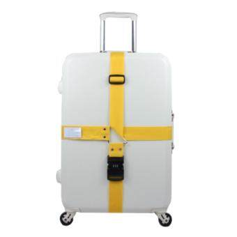 360DSC Adjustable Password Lock Luggage Suitcase Cross Strap Travel Baggage Bag Belt with Tag - Yellow