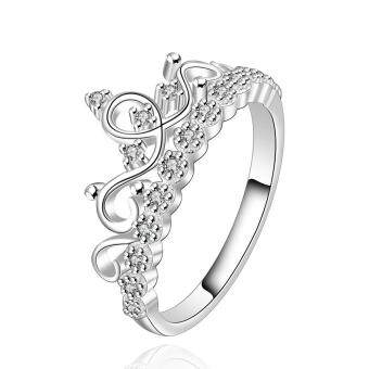 360DSC Noble Crown Shape Silver Plated Ring for Women Size 8White-Size 8