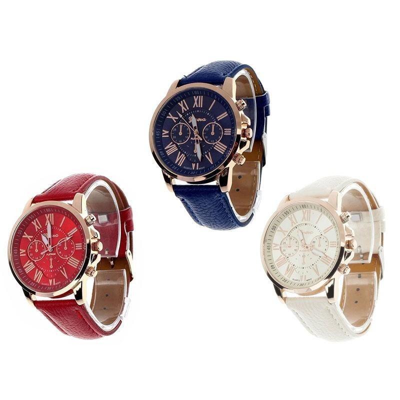 3Pcs/set Geneva Womens Fashion Roman Numerals Faux Leather Analog Quartz Wrist Watch Red and White and Blue Malaysia