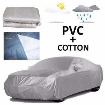 Harga 431 x 165 x 119 cm M Size PVC + Cotton Double Layers Car Full Cover Water Resistant Anti-UV Dust Resistant Vehicle Protection Covering Grey Bezza Saga BLM FLX Gen 2 Wira Waja Kembara Kenari Prius