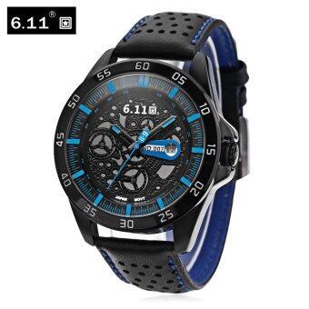 6.11 NO - 007 Men Solar Photovoltaic Energy Quartz Watch Wheel Pattern Dial Date Display Wristwatch