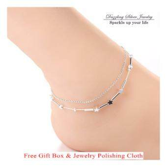 Harga 925 Silver Jewelry Plated Anklet Bracelet Double Chain Lucky Star 81