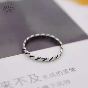Harga 925 silver ring female retro national wind Thai silver twist ringsimple ring index finger ring