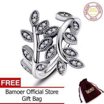 Harga 925 Sterling Silver Sparkling LEAVES SILVER RING WITH CUBICZIRCONIA for Women Original Jewelry 6 7 8 9 Size PA7114