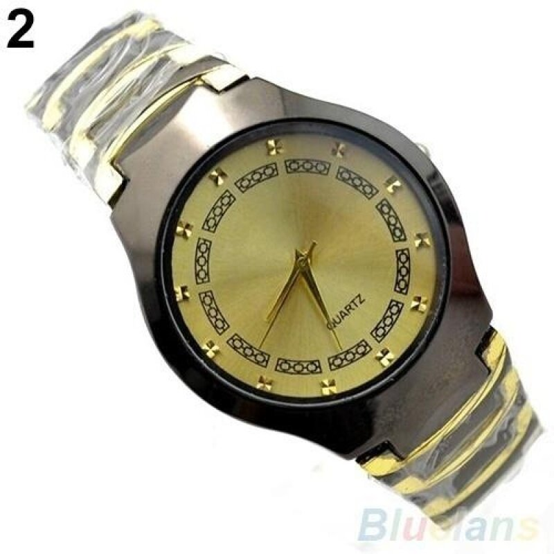 ADDC Luxury Mens Business Casual Stainless Steel Link Chain Wristwatch Quartz Round dial Watch(Gold) Malaysia