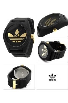 ADIDAS ADH2712 Santiago XL Black Dial Black Rubber Strap Unisex Quartz Watch (Black & Gold)