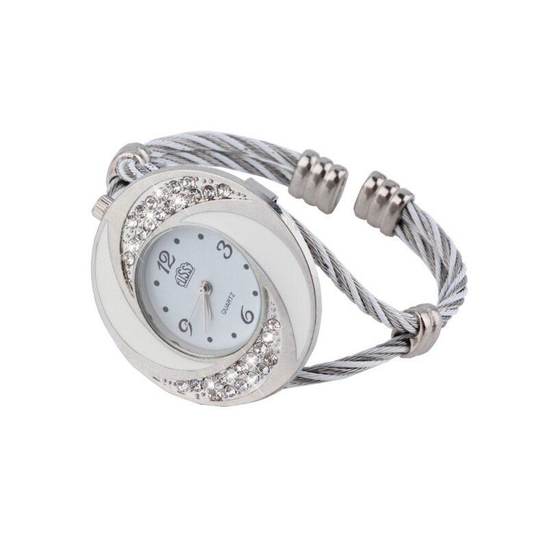 Allwin Women Steel Bangle Wrist Crystal Round Dial Analog Digital Bracelet Watch Malaysia