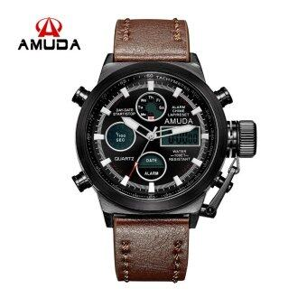 Harga AMUDA Luxury Dive Watch Led Men Sport Quartz Watches (Brown)