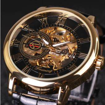 Harga Automatic mechanical watches Hollow out Manual mechanical watchleather belt watch COUPLE WATCHES WOMEN MENS WATCHES