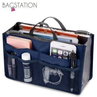 BAGSTATIONZ Premium Lightweight And Water-Resistant Multi-Compartment Bag-In-Bag Organizer (Navy Blue)