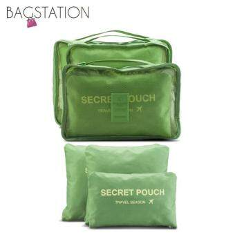 Harga Bagstationz Set Of 6 Pieces Travel Clothes Bag And Items Pouch(Green)