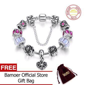 Harga BAMOER 925 Silver Heart Charm Bracelet Silver with Safety Chain & Beads for Women Authentic Jewelry PA1453