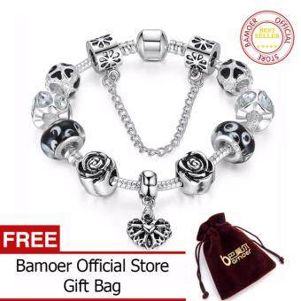 Harga BAMOER 925 Silver Heart Charm Bracelet Silver with Safety Chain& Black Beads for Women Authentic Jewelry PA1435