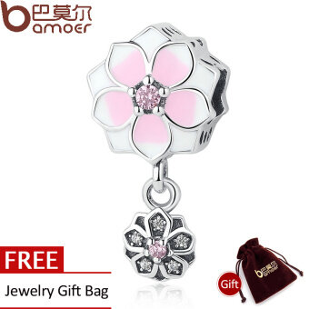 Harga BAMOER 925 Sterling Silver Magnolia Bloom, Pale Cerise Enamel, Pink& Clear CZ Charms fit Bracelets DIY Jewelry PSC076
