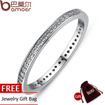 Harga BAMOER 925 Sterling Silver Stackable Heart ,Crown ,Selfless MomRing for Women Clear CZ Authentic Silver Jewelry Gift SCR030