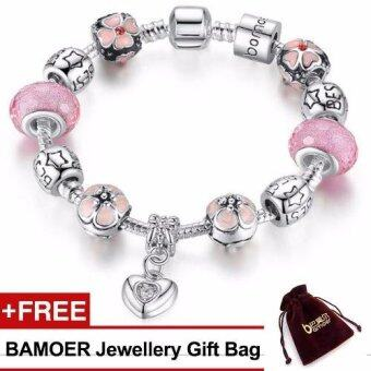 Harga BAMOER 925S Silver Charm Bracelet with Heart Pendant & Cherry Blossom Charm Pink Murano Glass Beads for Her Gift PA1459