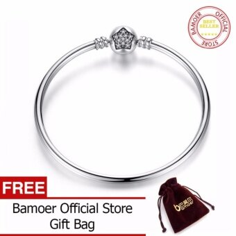 Harga BAMOER Authentic 100% 925 Sterling Silver Snake Chain Bangle &Bracelet Pave Star Cubic Zirconia CZ Jewelry PAS901