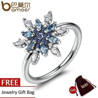 Harga BAMOER Bijoux 925 Sterling Silver Crystalized Snowflake, BlueCrystals & Clear CZ Finger Rings for Women Jewelry PA7192
