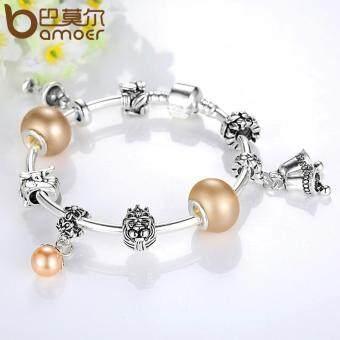 BAMOER Hot Sale Romantic Bracelets Silver Plated Pendant Braceletswith Wineglass Beads Girl Bracelets .