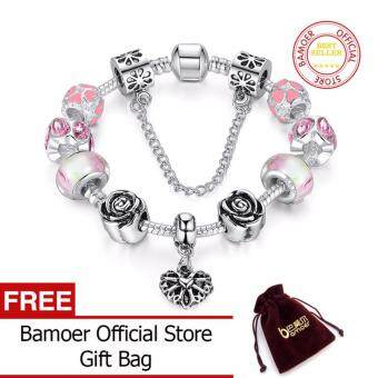 Harga BAMOER Original 925 Silver Pink Heart Charm Bracelet with SafetyChain for Women Authentic Jewelry PA1452