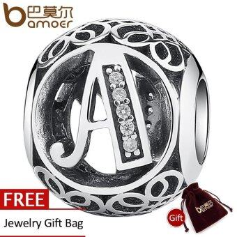 Harga BAMOER Simple Classic 925 Sterling Silver Alphabet A Letter BeadCharms fit DIY Bracelet & Necklace Jewelry Accessories PSC008-A