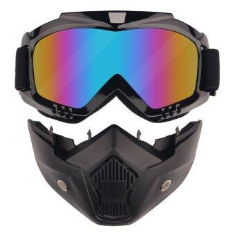Beon Windproof Motorcycle Colorful Lens Googles with Detachable Mask