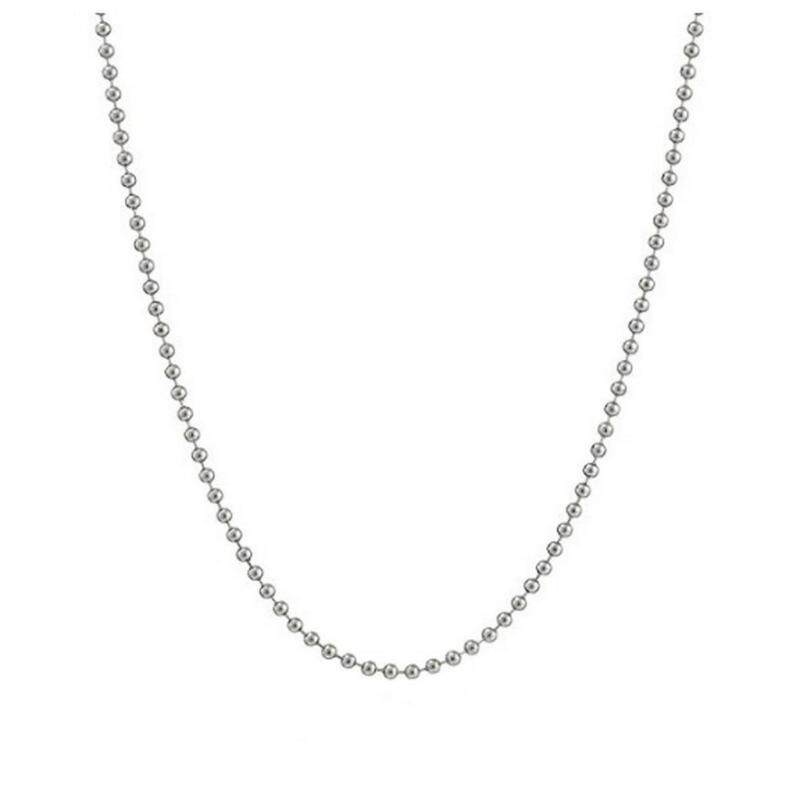 Bigood 2 Pcs Plated 925 Sterling Silver Thin Bead Necklace Chain 60cm Malaysia