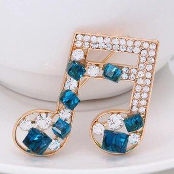 Harga Blue Crystal Music Sixteenth Note Brooch Pin