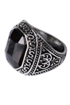 Harga Bluelans Men's Lover Vintage Carved Geometric Resin Alloy JewelryRing (Black)