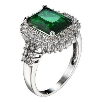 Harga Bluelans Women's Green Zircon Silver Plated Ring