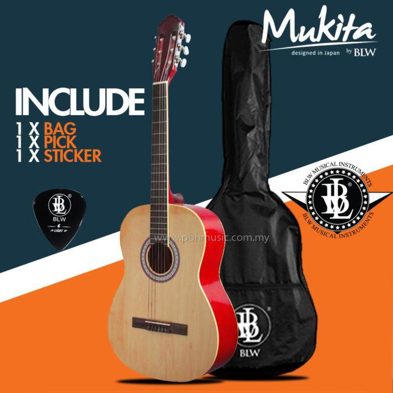 BLW 39 inch Classical Standard Nylon Strings Guitar for starters and beginners Comes with BLW Bag , Merchandise Sticker and Guitar Pick (Brown) Malaysia