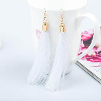 Bohemian Earrings Women Long Tassel Fringe Dangle Earrings White