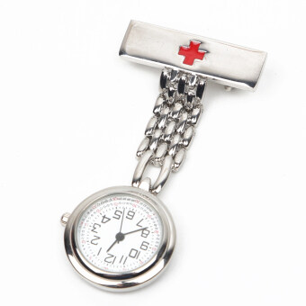 Boutique medical Red Cross nurse watch chest table female modelsstudent smiley quartz pocket watch with pin to send battery