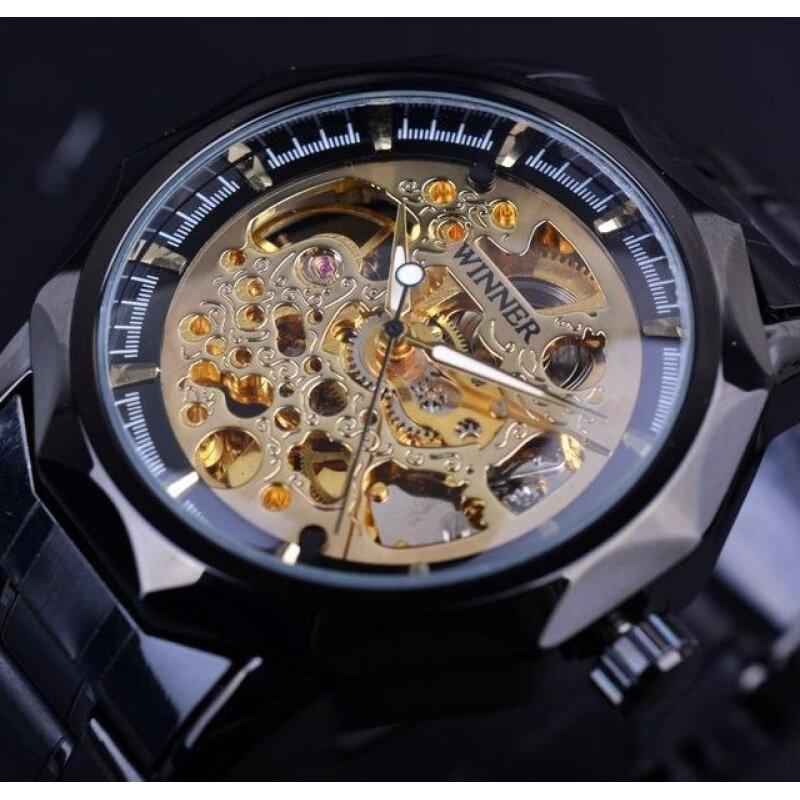 Brand WINNER Watch Luxury Fashion Vintage Steel Stainless Clock Black Roman Dial Mechanical Skeleton Wristwatch For Men Malaysia