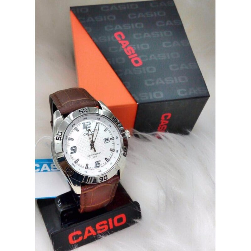 Brown Strap with White Dial Casio Watch Malaysia