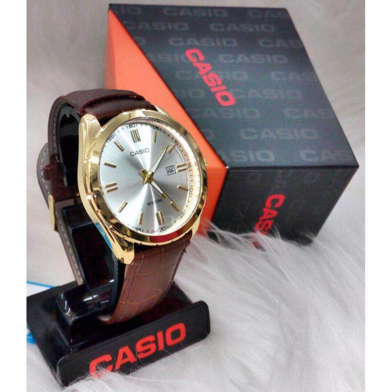 Brown Strap with White Dial (Gold Lug) Casio Watch Malaysia