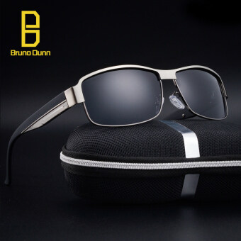 Harga Bruno Dunn Brand designer POLARIZED Sunglasses Men sun glasses withbox Driving Fishing sunglases 8485 (gun frame gray lense