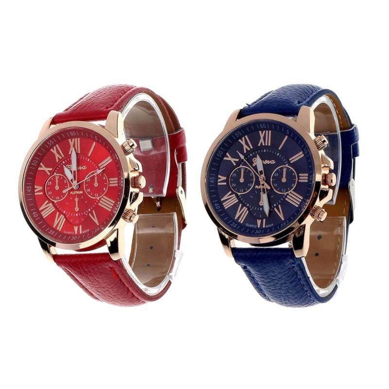 Bundle 2 in 1 Set: Geneva Womens Fashion Roman Numerals Faux Leather Analog Quartz Wrist Watch Red and Blue Malaysia