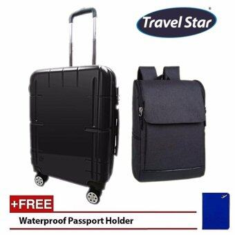 Bundle Deal: Travel Star Japanese Style Y01 20 Inches Hard Case Luggage Black with Travel Star 307 Korean Style Premium Laptop Backpack- Black