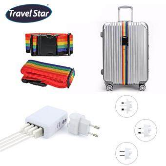 Bundle Set : Travel Star Adjustable Length Luggage Strap With Buckle and 4 USB Ports AC Universal Travel Wall Adaptor Charger