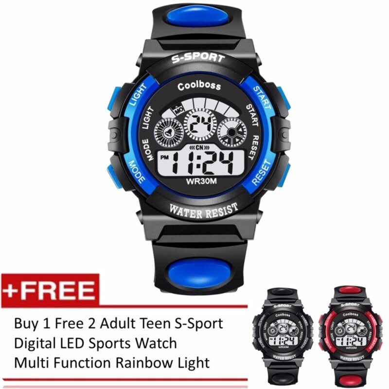 [Buy 1 Free 2] Adult Teen S-Sport Digital LED Sports Watch  Multi Function Rainbow Light Malaysia
