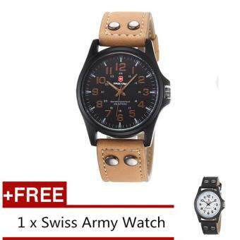 (Buy 1 Get 1 Free) Swiss Army Men's Watches Leather Strap WatchBlack Light Brown + Free Swiss Army Watch Black White