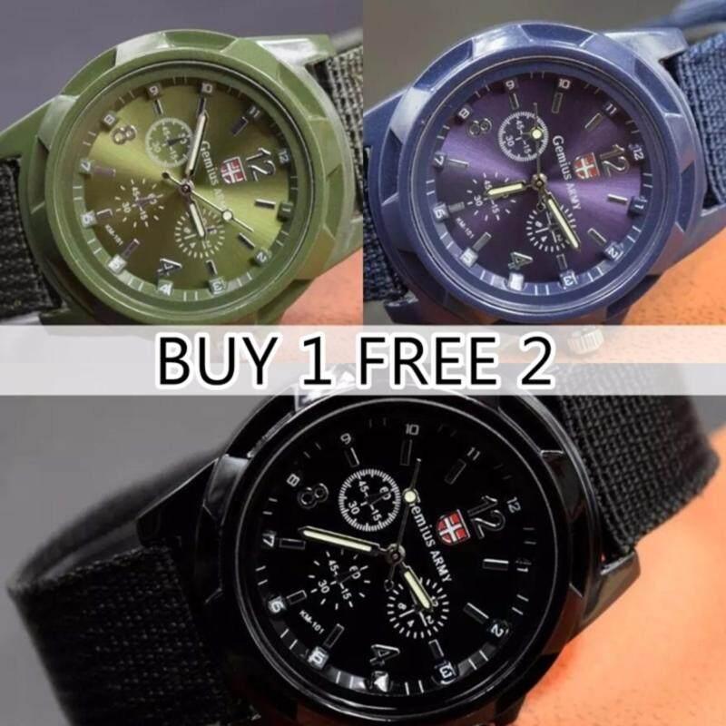 Buy1 Free 2 Men Nylon band Military watch Gemius Army watch High Quality Quartz Movement Men sports watch Casual wristwatches Malaysia