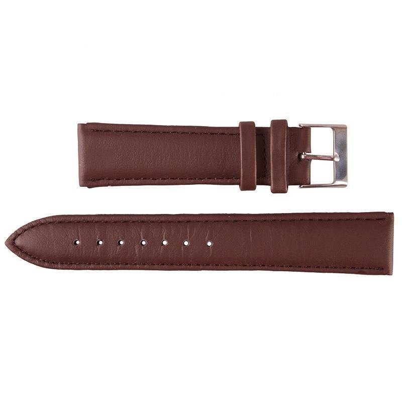 BUYINCOINS 18mm/20mm/22mm Genuine Leather Wrist Watch Band Strap Stainless Steel Pin Buckle Dark Brown-20mm Malaysia