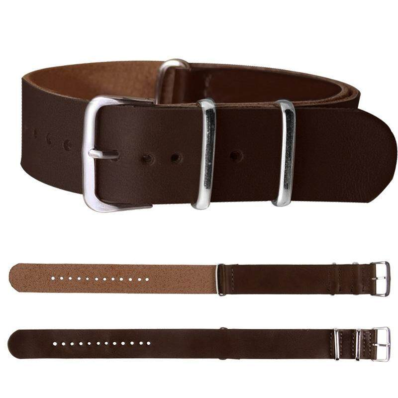 BUYINCOINS 18mm/20mm/22mm Leather Wrist Watch Band Strap Mens Stainless Steel Pin Buckle Dark Brown-18mm Malaysia