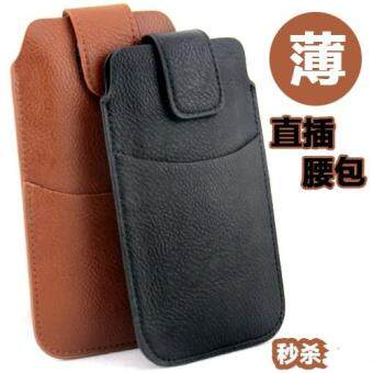 Harga C9 Samsung A8 clutch bag A8000 straight plug leather waist bag pockets thin belt mobile phone bag vertical wear belt men