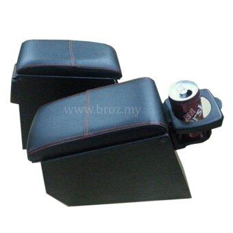 Car Armrest PVC Red Line With Drink Holder For Proton Saga Iswara