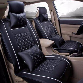 Harga Car Seat Covers, PU Leather, Front and Rear Row Full Set for 5Seats Vehicle,for Full Seasons-Black and White Size M