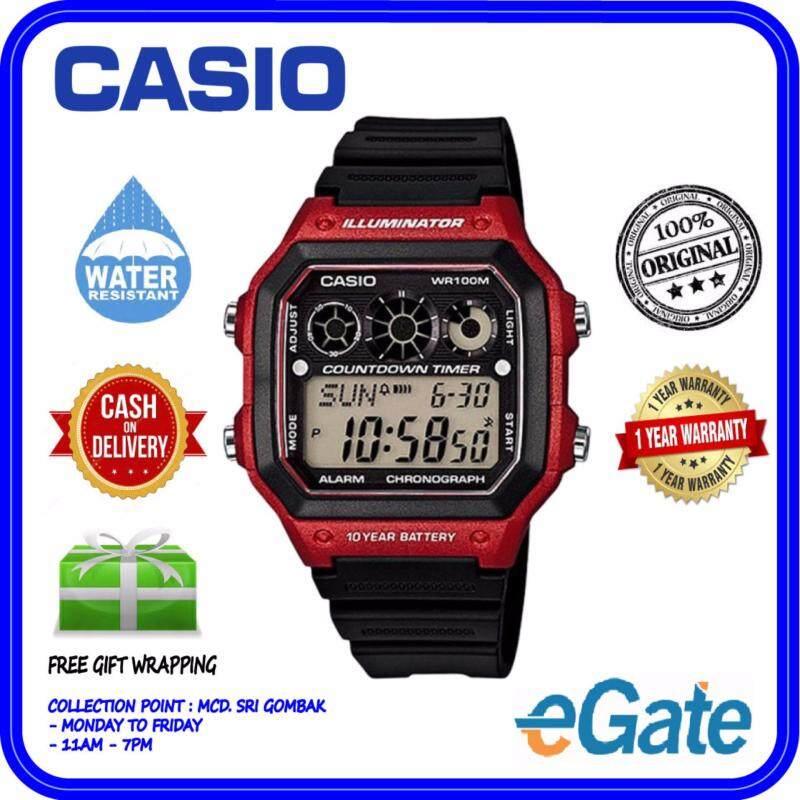 Casio AE-1300WH-4AV Mens Digital Black Resin Strap Red Case Original Watch Malaysia
